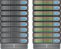 Κεντρικοί υπολογιστές εγκατεστημένος στο ράφι διανυσματική απεικόνιση