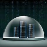 Κεντρικοί υπολογιστές δικτύων κάτω από έναν θόλο γυαλιού Βάση δεδομένων ασφάλειας από το hacke Στοκ εικόνες με δικαίωμα ελεύθερης χρήσης