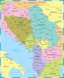 Κεντρικός βαλκανικός χάρτης - διανυσματική απεικόνιση ελεύθερη απεικόνιση δικαιώματος