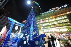 κεντρικός κόσμος Χριστουγέννων εορτασμού της Μπανγκόκ Στοκ Εικόνες