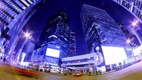 Κεντρικός. Νύχτα Timelapse πόλεων Χονγκ Κονγκ. Ευρύς πυροβολισμός φιλμ μικρού μήκους