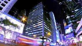 Κεντρικός. Νύχτα Timelapse πόλεων Χονγκ Κονγκ. Σφιχτά να μεγεθύνει πυροβοληθείσα έξω. φιλμ μικρού μήκους