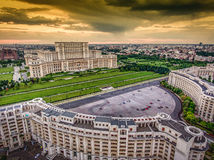 image photo : Bucharest Romania city center skyline at sunset