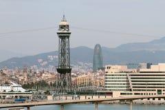 Κεντρικός πύργος ropeway λιμένων Βαρκελώνη Ισπανία Στοκ φωτογραφία με δικαίωμα ελεύθερης χρήσης