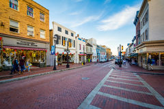 Κεντρικός δρόμος, σε στο κέντρο της πόλης Annapolis, Μέρυλαντ Στοκ Εικόνες