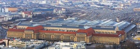 Κεντρικός σταθμός τρένου της Λειψίας Γερμανία άνωθεν Στοκ Φωτογραφίες