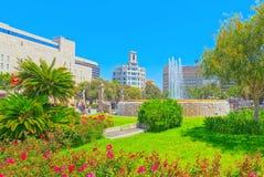 Κεντρικό διάσημο τετράγωνο της Βαρκελώνης - Placa de Catalunia Το MOS Στοκ φωτογραφία με δικαίωμα ελεύθερης χρήσης