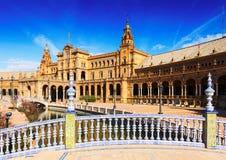 Κεντρικό κτήριο από τη νύφη Plaza de Espana Σεβίλη Στοκ φωτογραφίες με δικαίωμα ελεύθερης χρήσης