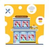 Κεντρικό κτήριο καφέδων Εστιατόριο με το θερινό πεζούλι και με τις κουρτίνες Σύνολο λεπτομερούς πρόσοψης και εσωτερικού εστιατορί διανυσματική απεικόνιση