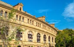 Κεντρικό κτίριο Plaza de Espana, μια αρχιτεκτονική σύνθετη στη Σεβίλη - την Ισπανία Στοκ Εικόνα