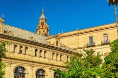 Κεντρικό κτίριο Plaza de Espana, μια αρχιτεκτονική σύνθετη στη Σεβίλη - την Ισπανία Στοκ φωτογραφία με δικαίωμα ελεύθερης χρήσης