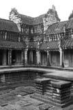 Κεντρικό προαύλιο Wat Angkor (άσπρος και μαύρος) Στοκ φωτογραφία με δικαίωμα ελεύθερης χρήσης