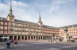 Κεντρικό τετράγωνο του δημάρχου Plaza, στη Μαδρίτη, Ισπανία Στοκ Φωτογραφίες