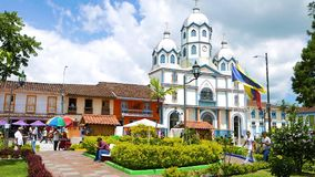 Κεντρικό τετραγωνικό Filandia Κολομβία απόθεμα βίντεο