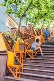 Κεντρικό Χονγκ Κονγκ Soho ανθρώπων σκαλοπατιών οδών smartphones Στοκ Φωτογραφία
