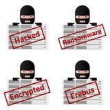 Κεντρικών υπολογιστών μηνύματα γραμματοσήμων που χαράσσονται κόκκινα, Ransomware, που κρυπτογραφείται, Erebus Απεικόνιση αποθεμάτων