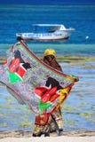 Κενυατικός πωλητής headscarves στοκ εικόνα με δικαίωμα ελεύθερης χρήσης