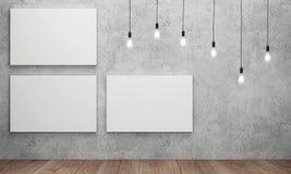 Κενός άσπρος καμβάς με τις καμμένος λάμπες φωτός Στοκ εικόνα με δικαίωμα ελεύθερης χρήσης
