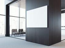 Κενός άσπρος καμβάς στο σκοτεινό ξύλινο τοίχο τρισδιάστατη απόδοση απεικόνιση αποθεμάτων