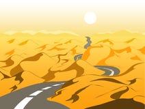 Κενός δρόμος στην έρημο, διανυσματική απεικόνιση διανυσματική απεικόνιση