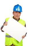 κενός εργαζόμενος αφισών εκμετάλλευσης κατασκευής στοκ εικόνες