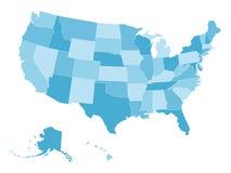 Κενός διανυσματικός χάρτης των ΗΠΑ σε τέσσερις σκιές του μπλε Στοκ φωτογραφία με δικαίωμα ελεύθερης χρήσης