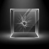 Κενός διαφανής σπασμένος κύβος κιβωτίων γυαλιού ρωγμών διανυσματική απεικόνιση