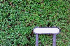 Κενός κενός άσπρος ξύλινος καθοδηγεί με το φυσικό πράσινο υπόβαθρο πάρκων κήπων φύλλων στοκ φωτογραφίες