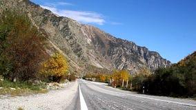 Κενός κυρτός δρόμος ασφάλτου, δέντρα με τα κίτρινα φύλλα με το μπλε ουρανό απόθεμα βίντεο