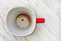 Κενός κόκκινος καφές κουπών Στοκ Φωτογραφίες