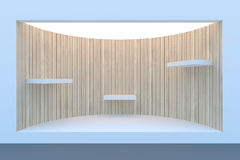 Κενός κύκλος storefront ή εξέδρα με το φωτισμό και ένα μεγάλο παράθυρο Στοκ Φωτογραφία