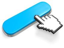 Κενός μπλε μακρύς δρομέας κουμπιών και χεριών Στοκ εικόνες με δικαίωμα ελεύθερης χρήσης