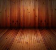Κενός ξύλινος τοίχος δωματίων στοκ εικόνα
