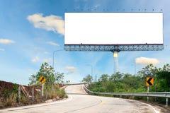 Κενός πίνακας διαφημίσεων για τη διαφήμισή σας στην οδική καμπύλη στοκ εικόνες με δικαίωμα ελεύθερης χρήσης