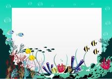Κενός πίνακας με το μπλε υποβρύχιο υπόβαθρο θάλασσας διανυσματική απεικόνιση