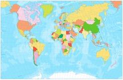 Κενός πολιτικός παγκόσμιος χάρτης με με τους ποταμούς, τις λίμνες, τις θάλασσες και το ocea Στοκ φωτογραφία με δικαίωμα ελεύθερης χρήσης