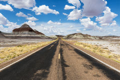Κενός δρόμος στην έρημο στο κράτος της Αριζόνα, ΗΠΑ Στοκ εικόνα με δικαίωμα ελεύθερης χρήσης