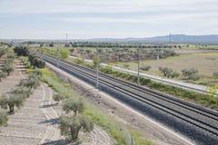 Κενός σιδηρόδρομος του τραίνου υψηλής ταχύτητας Στοκ Εικόνα