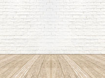 Κενός τοίχος δωματίων τούβλου και ξύλινο πάτωμα σανίδων Στοκ Φωτογραφία