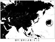 Κενός χάρτης της Ασίας και των επίπεδων δεικτών χαρτών Στοκ εικόνα με δικαίωμα ελεύθερης χρήσης