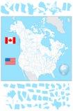 Κενός χάρτης των ΗΠΑ και του Καναδά με τα αντικείμενα νερού και τα κράτη του Στοκ Φωτογραφίες