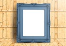 Κενός χλωμός - μπλε εκλεκτής ποιότητας πλαίσιο στο ξύλινο ξύλινο wal πατωμάτων και σανίδων Στοκ εικόνα με δικαίωμα ελεύθερης χρήσης