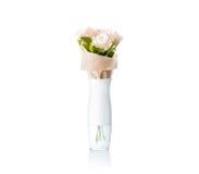 Κενό άσπρο βάζο με το πρότυπο σχεδίου ανθοδεσμών λουλουδιών, πορεία ψαλιδίσματος Στοκ Φωτογραφία