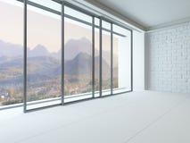 Κενό άσπρο εσωτερικό δωματίων με το τεράστιο παράθυρο Στοκ εικόνες με δικαίωμα ελεύθερης χρήσης
