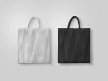 Κενό άσπρο και μαύρο πρότυπο σχεδίου τσαντών eco βαμβακιού Στοκ Εικόνα