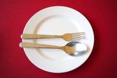 Κενό άσπρο κουτάλι πιάτων Στοκ εικόνες με δικαίωμα ελεύθερης χρήσης