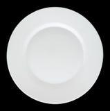 Κενό άσπρο πιάτο που απομονώνεται στο μαύρο υπόβαθρο Στοκ φωτογραφίες με δικαίωμα ελεύθερης χρήσης