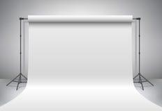 Κενό άσπρο στούντιο φωτογραφιών Ρεαλιστική τρισδιάστατη χλεύη προτύπων επάνω διάνυσμα Στοκ Φωτογραφία