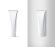 Κενό άσπρο σύνολο προτύπων σχεδίου σωλήνων οδοντόπαστας Στοκ Φωτογραφίες