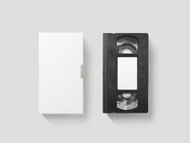 Κενό άσπρο τηλεοπτικό πρότυπο ταινιών κασετών, τοπ άποψη, πορεία ψαλιδίσματος Στοκ Φωτογραφία